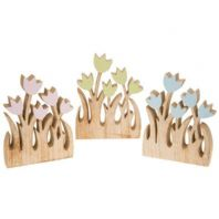 CONTEMPORARY CHUNKY WOODEN CARVED TULIP FREE STANDING ORNAMENT 3 COLOURS were £4.95.....